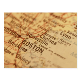 BOSTON Vintage Map Postcard