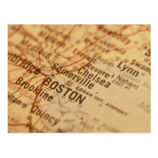 BOSTON Vintage Map Postcard