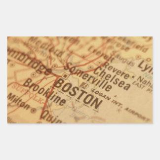 BOSTON Vintage Map Rectangular Sticker