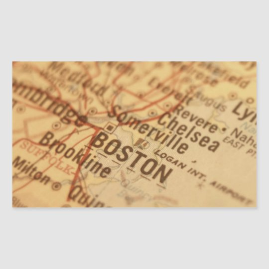 BOSTON Vintage Map Rectangular Sticker