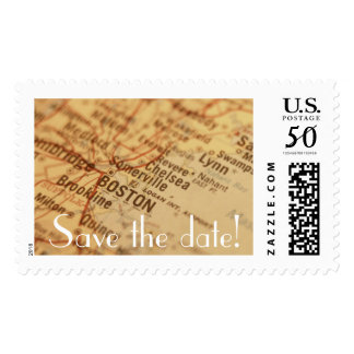 BOSTON Vintage Map Save the Date Postage