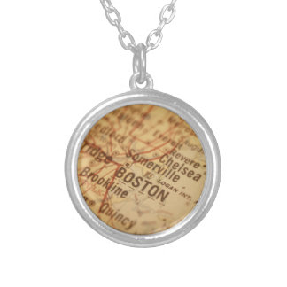 BOSTON Vintage Map Silver Plated Necklace