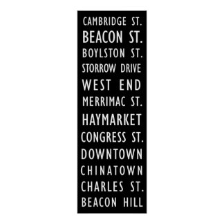 Boston Vintage Transit Scroll Poster