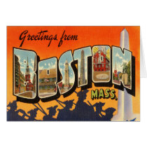 Boston Vintage Travel Postcard Restored