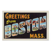 Boston Vintage Travel Postcard Restored Poster