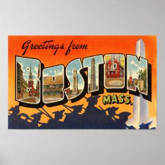 Boston Vintage Travel Postcard Restored Poster