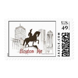 Boston Washington Profile Postage Stamp