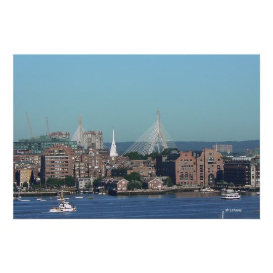 Boston Waterfront Aerial View Poster