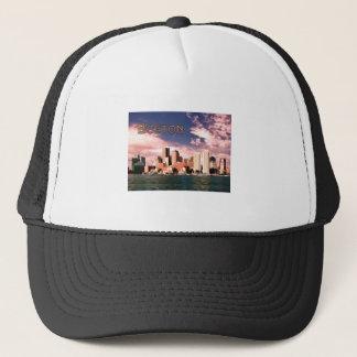 Boston Waterfront text BOSTON Trucker Hat