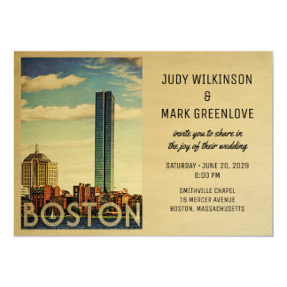 Boston Wedding Invitation Vintage Mid-Century
