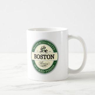 boston - wicked pissah classic white coffee mug