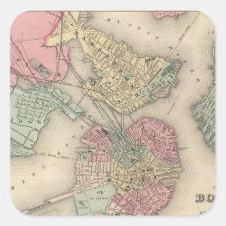 Boston y ciudades adyacentes pegatina cuadrada