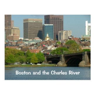Boston y el río Charles Tarjetas Postales