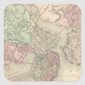 Boston y vecindad calcomanía cuadradas personalizadas