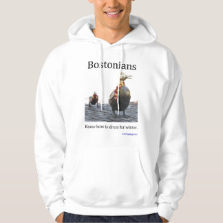Bostonians sabe vestirse para el invierno pulóver con capucha