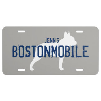 BOSTONMOBILE Boston Terrier Silhouette with Text License Plate