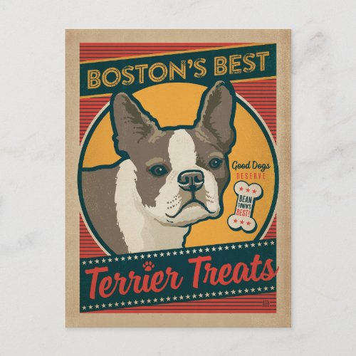 Bostons Best Terrier Treats Postcard