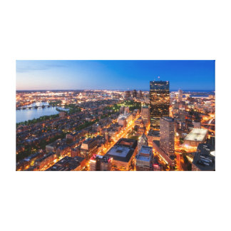 Boston's skyline at dusk gallery wrapped canvas