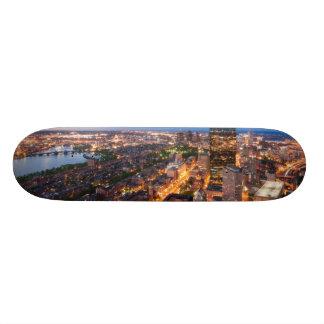 Boston's skyline at dusk custom skateboard