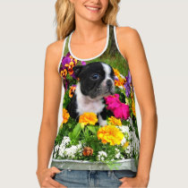 Bostons Terrier dog all over print tank tops