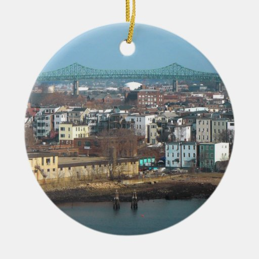 Boston's Tobin Bridge Looks over the City Double-Sided Ceramic Round Christmas Ornament