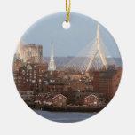 Boston's Waterfront with Zakim Bridge Christmas Tree Ornaments