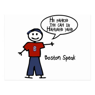 """Bostonspeak """"He Pahked the Cah..."""" He Parked Car.. Postcard"""