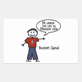 "Bostonspeak ""He Pahked the Cah..."" He Parked Car.. Rectangular Sticker"