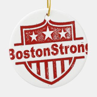BostonStrongShield.png Adorno Navideño Redondo De Cerámica