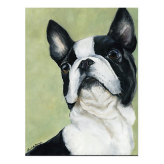 BostonTerrier Original Dog Art Postcard