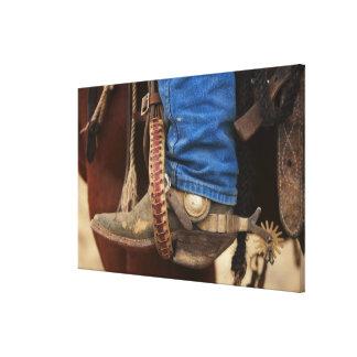 Bota de vaquero con el estímulo impresiones en lona estiradas