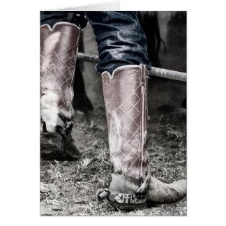 Bota de vaquero de un vaquero de trabajo real en T Tarjetas
