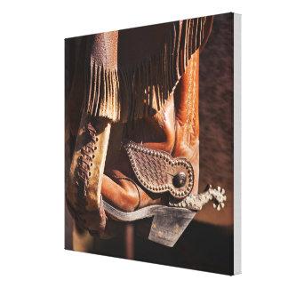 Bota de vaquero impresión en lienzo estirada