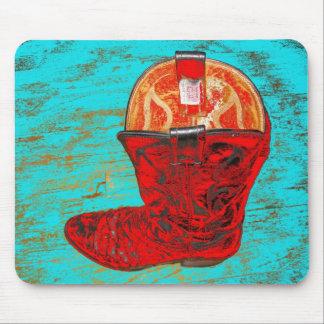 Bota de vaquero roja Mousepad