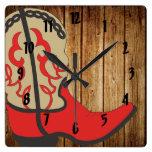 Bota de vaquero roja relojes