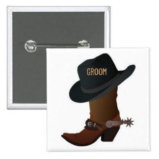 Bota de vaquero y perno del novio del gorra pins