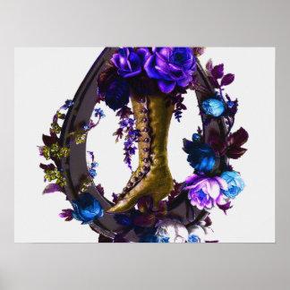 Bota floral del gótico del vintage y herradura afo impresiones