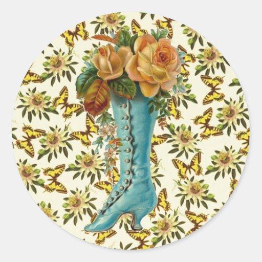 Bota floral del vintage pegatina redonda