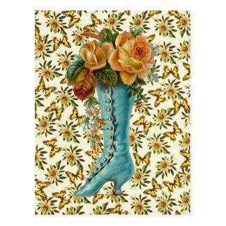 Bota floral del vintage postal