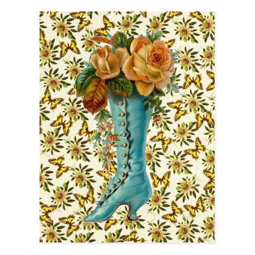 Bota floral del vintage tarjetas postales