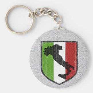 Bota italiana del escudo de la bandera medieval llavero redondo tipo pin