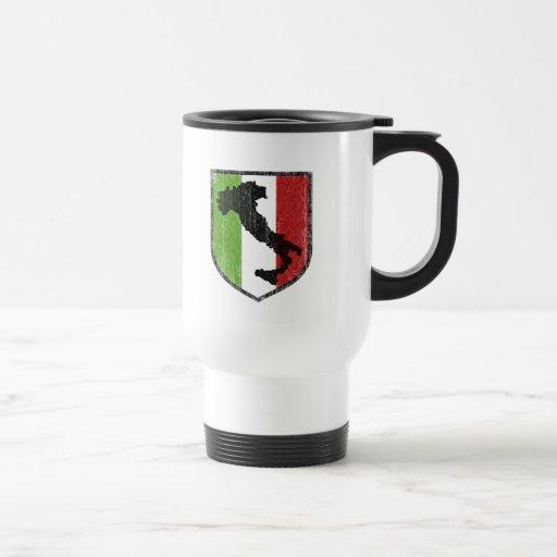 Bota italiana del escudo de la bandera medieval taza de café
