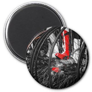 Bota roja en pila del comino del penique imán redondo 5 cm