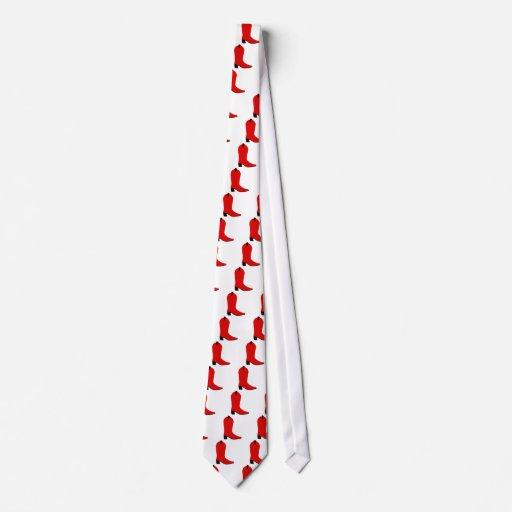 Bota roja y negra corbata
