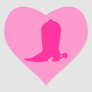 Bota rosada para la vaquera pegatina en forma de corazón