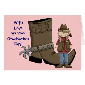 Bota y estímulo de la graduación de la vaquera - tarjeta de felicitación