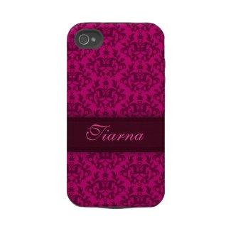 Botanic damask dark pink iphone4S tough name case casemate_case