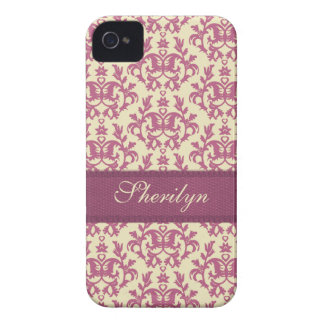 Botanic damask pink plum iphone4S name case Case-Mate iPhone 4 Cases
