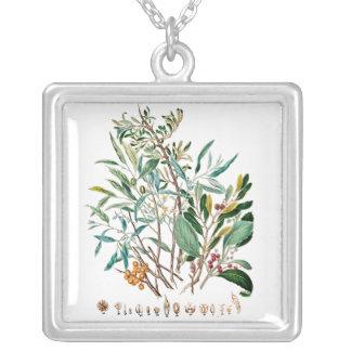 Botanic plate, plants turqueza square pendant necklace