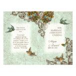 Botanica Birds Butterfly Swirl  Wedding Program Flyer Design